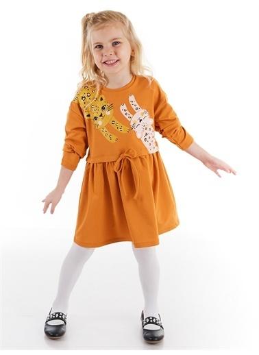 Denokids Mini Leoparlar Kız Elbise Renkli